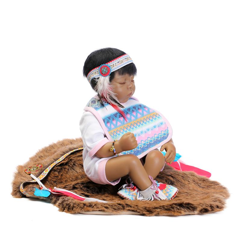 53cm Limited Collection Native American Indian Newborn Sleeping Baby Silicone Reborn Baby Dolls баффи санти мари buffy sainte marie native north american child an odyssey