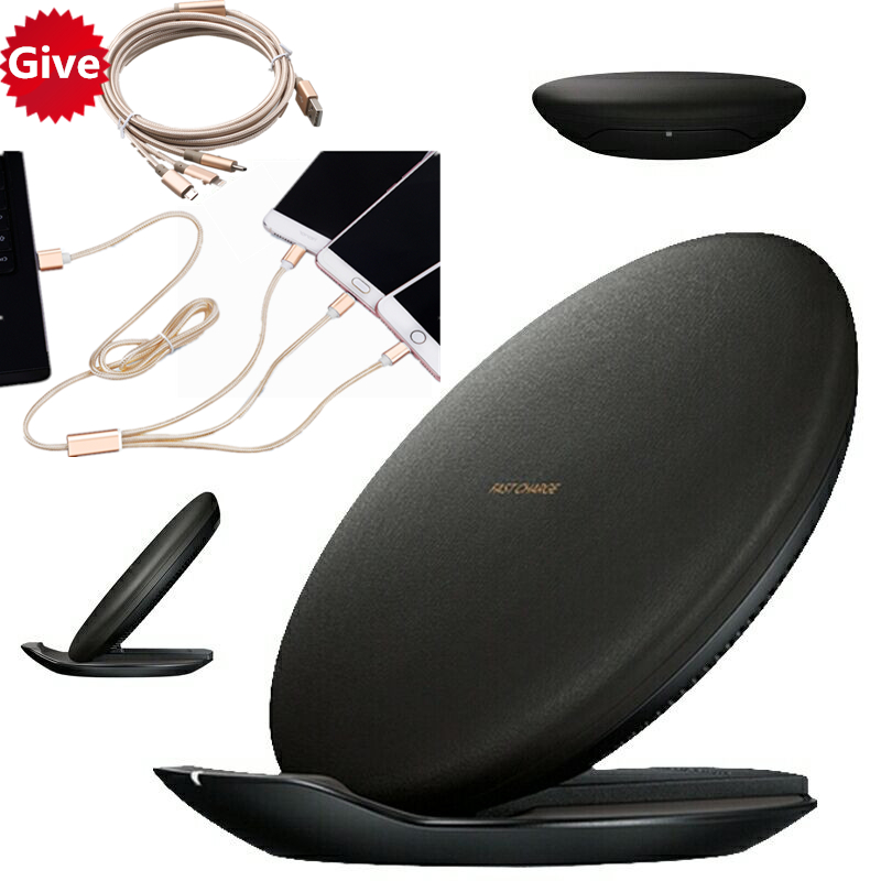 black Qi Fast Wireless Charger for Samsung Galaxy Note 8 5 S6 S7 Edge S8 Plus Wireless Charger for iPhone X 8 8 Plus ep-pg950