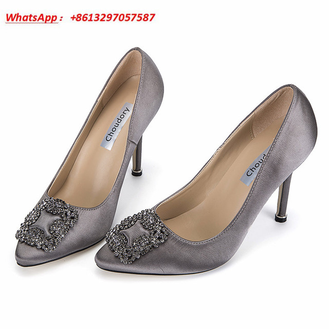 choudory discount luxury designer women wedding pumps crystal buckle stiletto high heels silk vamp jeweled
