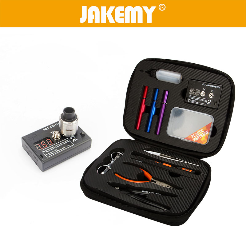 JAKEMY 12 In 1 DIY Electronic Cigarette Kit Atomizer Coil Tool Bag Accessories Vape Hand Tool Set with Screwdriver Plier Tweezer приспособление для настройки атомайзеров с жаропрочными губками vape tweezer
