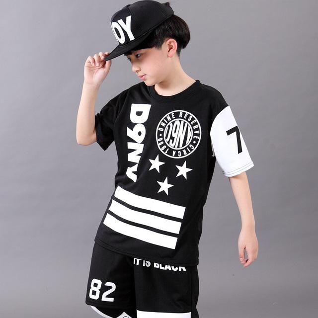 Boy hip hop ropa de manga corta de Los Niños ternos Establecidos Elegantes trajes de baile Camisa y pantalones cortos, además de jugar pantalones bajos 3 unids