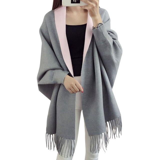 2016 Autumn Winter Cardigan Women Long Poncho Patchwork Loose Tassle Shawl Batwing Sleeve Woolen Cardigan Mujer Women's Sweater