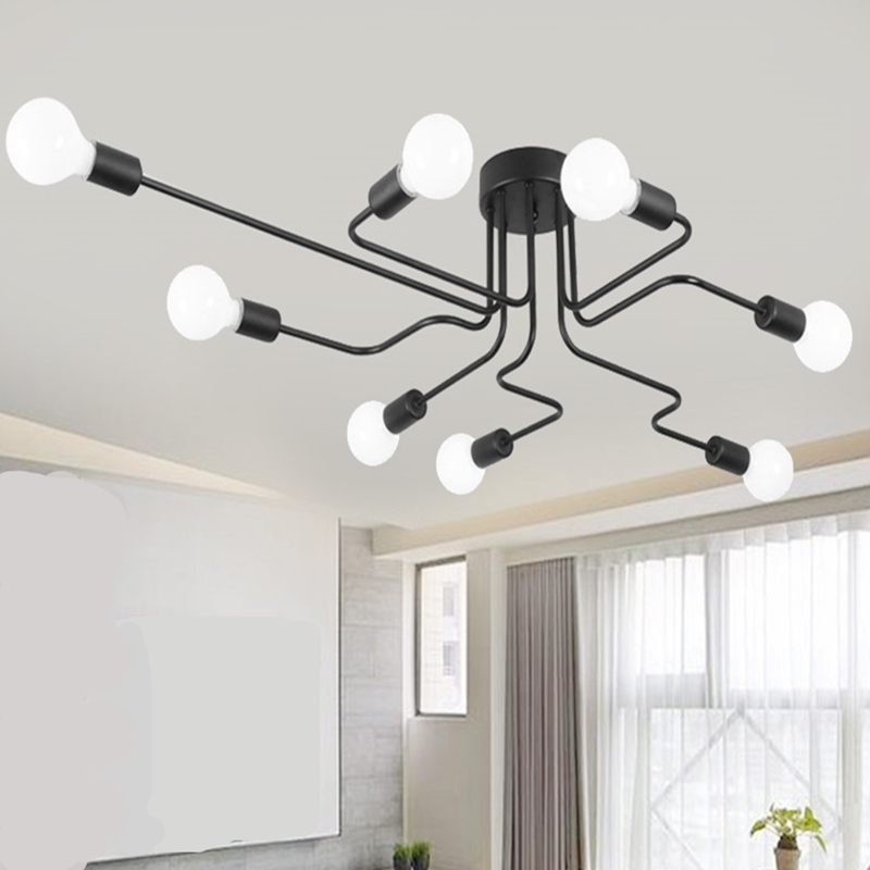 4/6/8 Heads Multiple Rod Wrought Iron Ceiling Light Retro Industrial Loft Nordic Dome Lamp for Home Decor Dinning Cafe Bar LED fumat vintage loft led ceiling light with long rod black iron ceiling lamp industiral bar aisle dinning room lighting