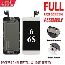 100% מלא סט מסך עבור iPhone 6 6 S LCD מלא הרכבה 3D מגע מזהה תחליף מלא תצוגה + מול לחצן מצלמה +