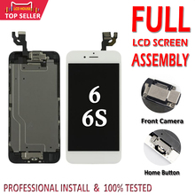 مجموعة كاملة من الشاشات لعام 100% لهاتف iPhone 6 6S LCD تجميع كامل لمعرف اللمس ثلاثي الأبعاد عرض بديل كامل + كاميرا أمامية + زر منزلي