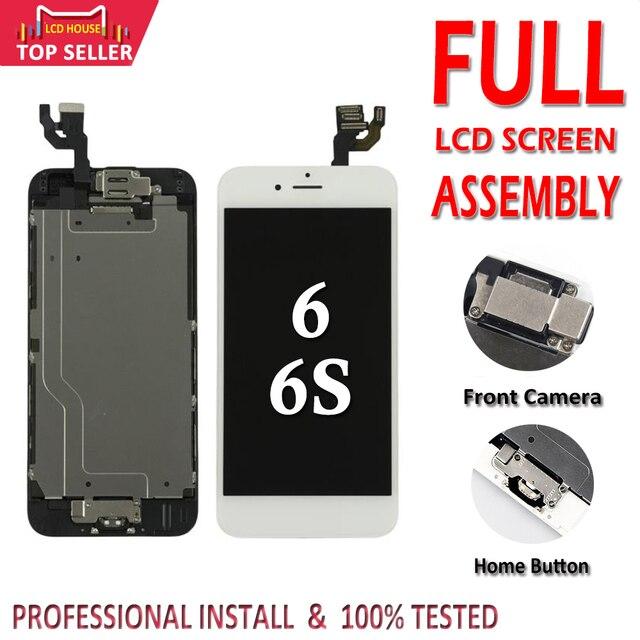 아이폰 6 6 s lcd 전체 어셈블리 3d 터치 id에 대 한 100% 전체 설정 화면 완료 교체 디스플레이 + 전면 카메라 + 홈 버튼