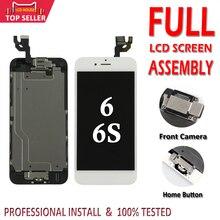 Pantalla completa para iPhone 6 6S, montaje completo de pantalla LCD con ID táctil 3D, reemplazo completo, cámara frontal y botón de inicio, 100%