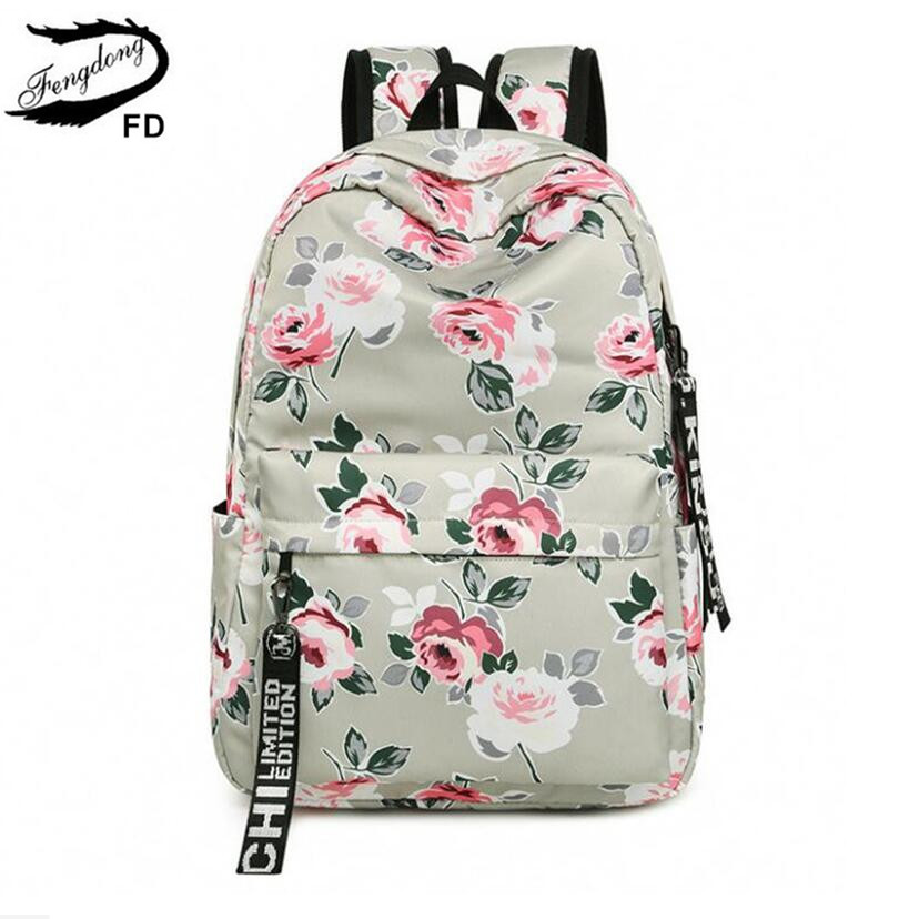 FengDong Chinese Style Floral School Backpack Flowers Backpacks For Teenage Girls School Bags Laptop Computer Bag Schoolbag Gift