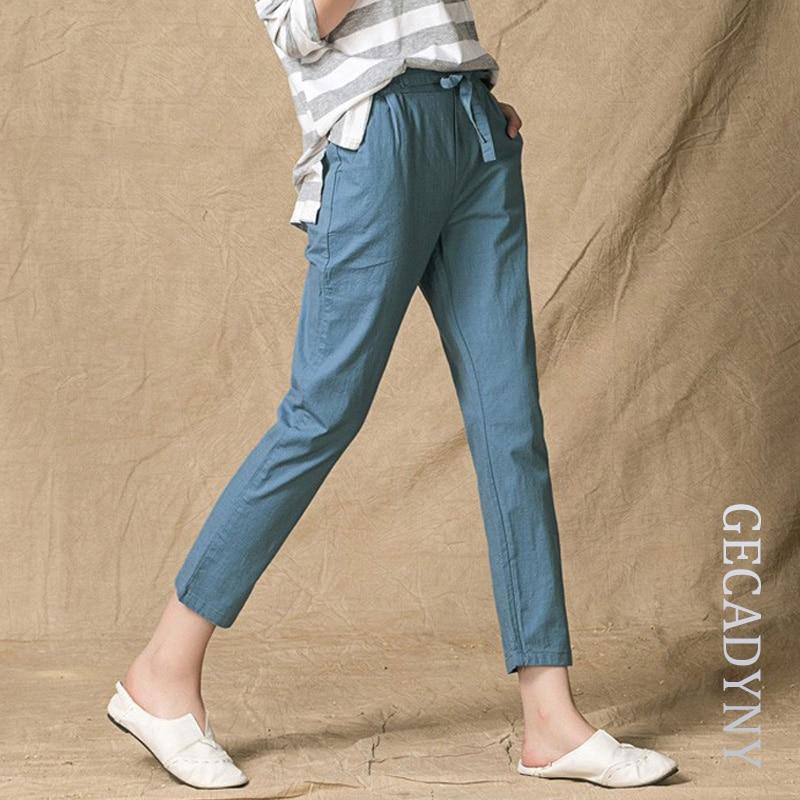 Model New Arrival Spring Summer Women Casual Pant High Waist Plus Size Pants Trousers Linen Slim ...