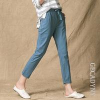 Summer Style 2018   Pants   Women High Quality Cotton Linen   Pants   Casual Elastic Waist Slim Trousers   Capris   For Women Pantalon Femme