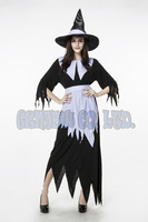 Women Adult Sexy Witch Queen Black And White Ladies Fancy Long Dress Halloween For Women Cosplay
