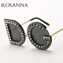 ROSANNA 2019 New Diamond Oversized Round Sunglasses Women Luxury Brand Crystal Female Alloy Clear Pink Eyewear UV400