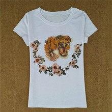 NiceMix 2019 new fashion t shirt women tops tiger head flower 3d print summer t-shirt cotton short sleeve tee femme