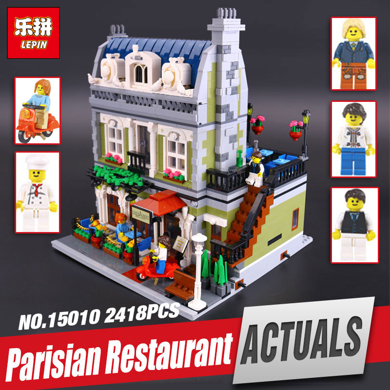 DHL Lepin 15010 Expert City Street Parisian Restaurant Model Educational Building Kits Blocks Funny Toy Compatible legoing 10243 dhl new 2418pcs lepin 15010 city street parisian restaurant model building blocks bricks intelligence toys compatible with 10243