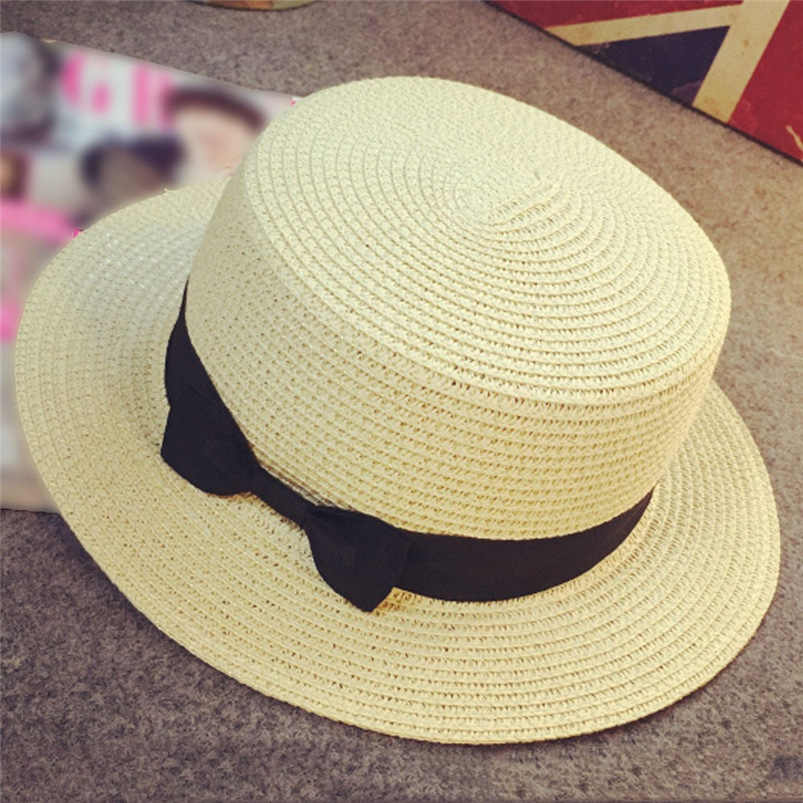 00ca4e04 ... Sunhat Men Women 2018 Summer New Solid Cap Bow Casual Beach Sun Straw  Cowboy Style Hat ...