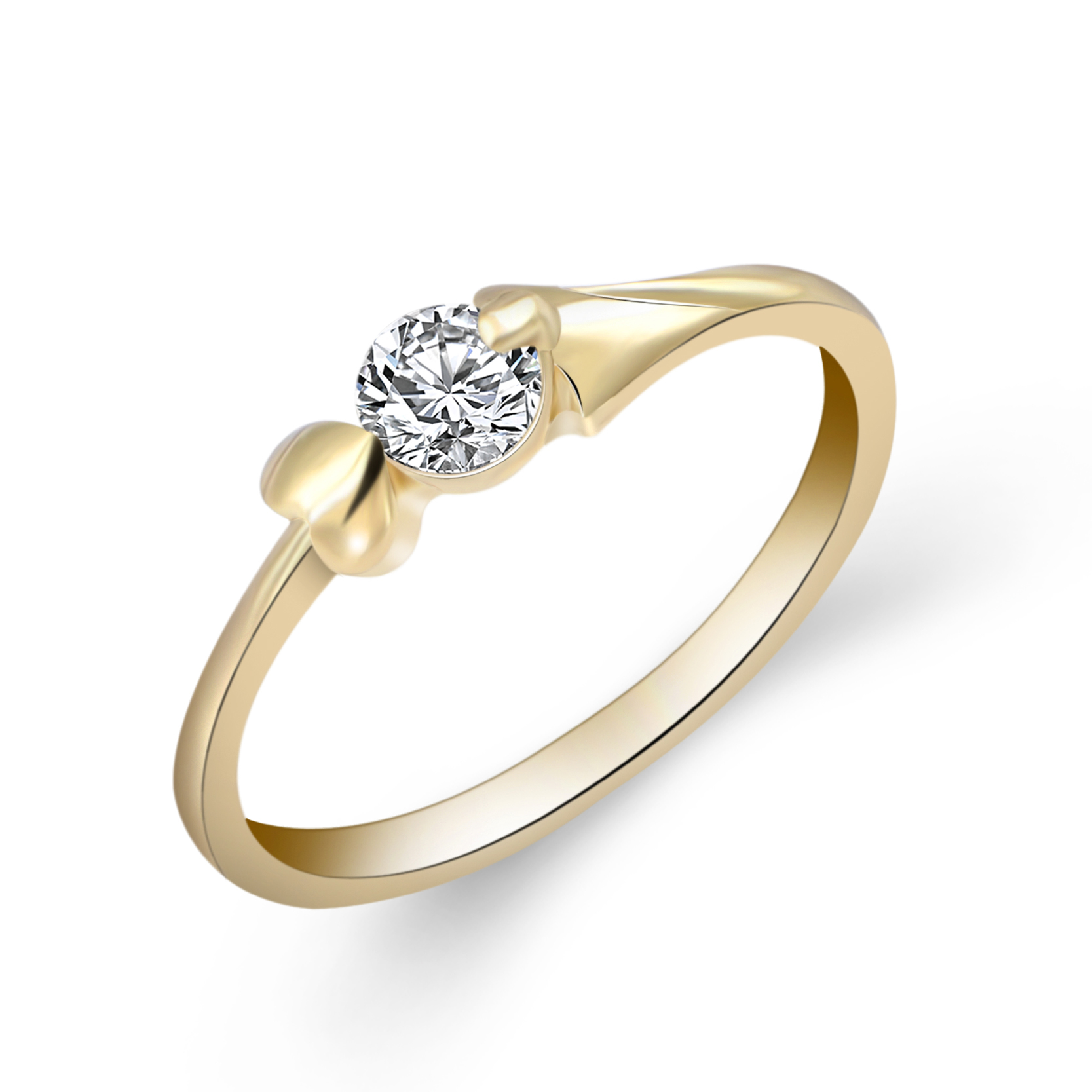 Wedding Jewery Gold Color with Cubic Zirconia Ring for Women Gift Size 5-10