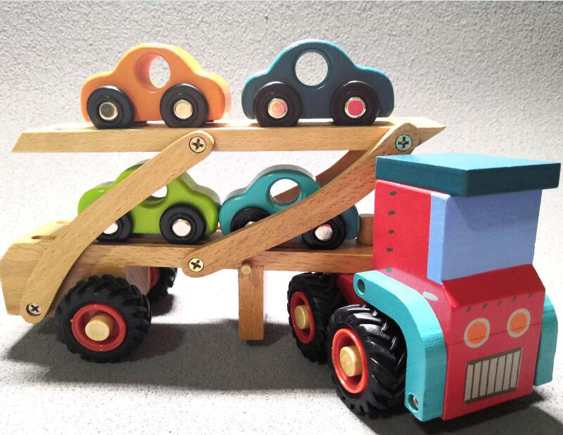 Children Wooden Cars Toy Truck With Rubber Wheels Baby Wooden Transporter Tractor Ambulance Infant Early Learning Boys Toy Gift