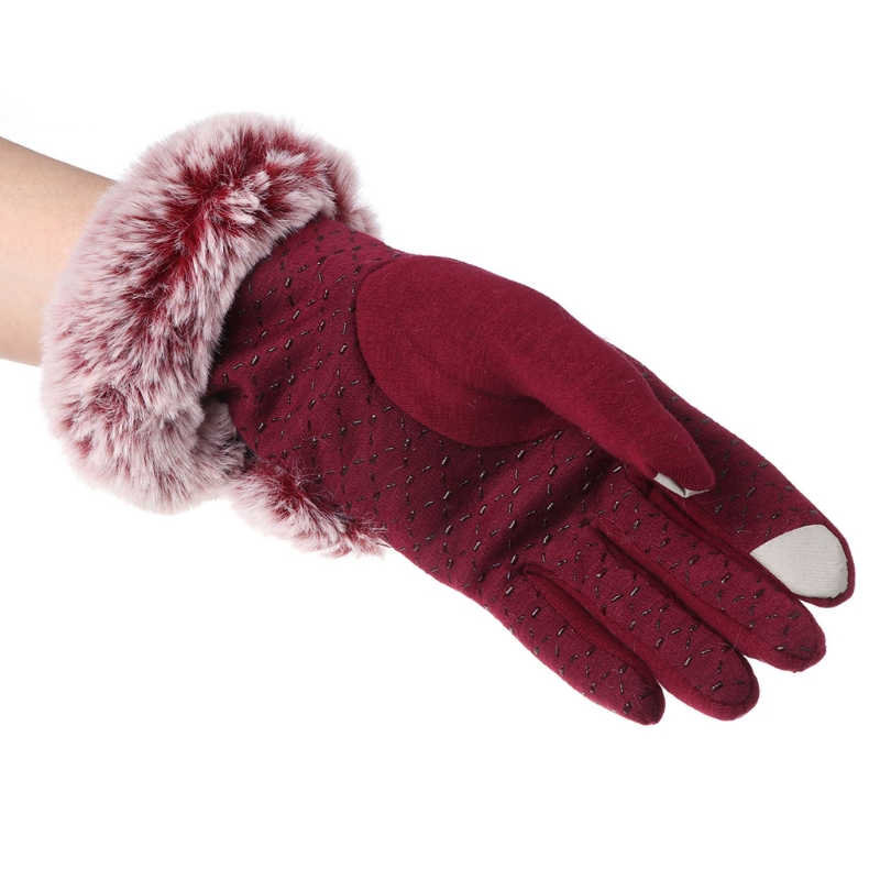 Women Touch Screen Gloves Mitten Full Finger Winter Keep Warm Thick Lady Adult Female Po ...