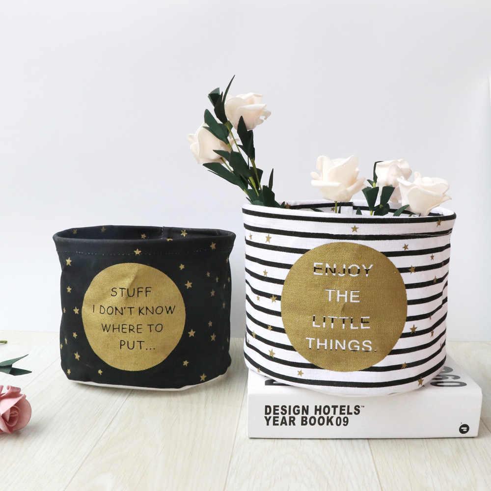 Nuevo organizador de maquillaje de escritorio de algodón y lino impermeable plegable caja de almacenamiento de alimentos juguetes para niños cesta de almacenamiento cajas de maquillaje