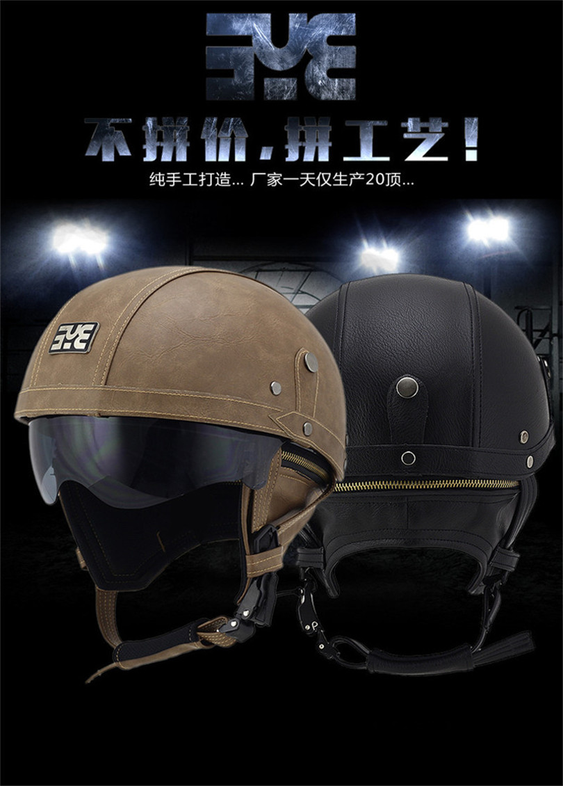 Motorcycle Motorbike Rider Half Open Face PU Leather Brands Helmet Visor With Collar Leather vintage Motorcycle