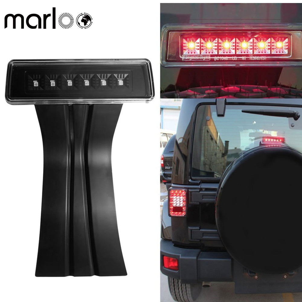 Marloo LED 3rd Third Brake Light for 2007-2017 Jeep Wrangler JK Brake Tail Light Lamp High Mount Stop Light Rear for jeep wrangler jk 2007 2016 tail light diamond smoke led tail light