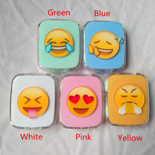 LIUSVENTINA DIY Acrylic Cute Expression Angry Smile Contact Lens Case with Mirror Box Container for Color Lenses Gift For Kids(China)