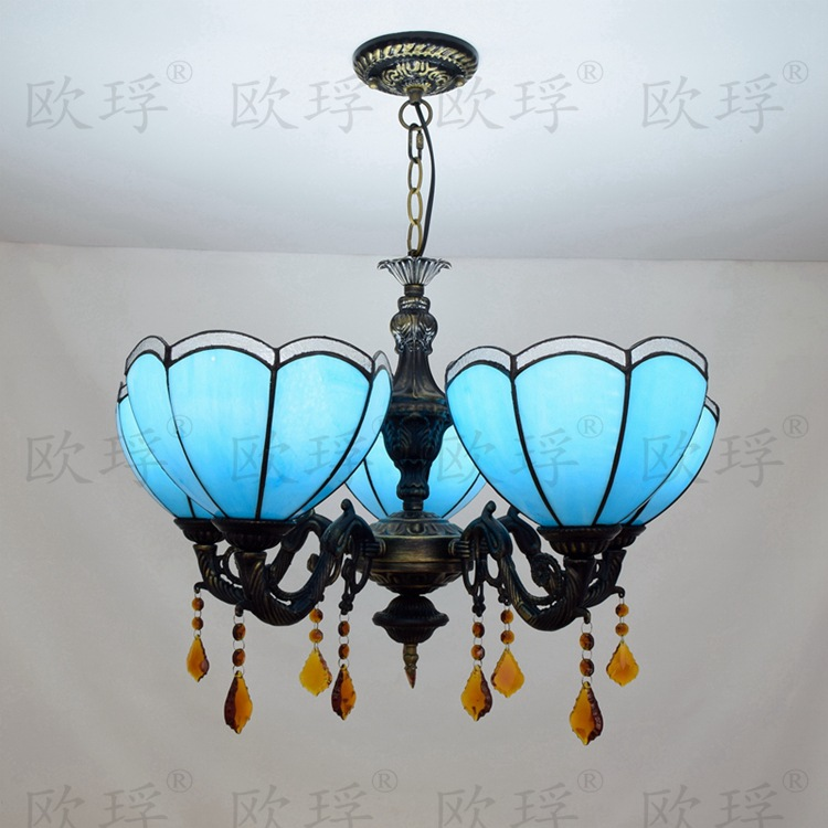 European Mediterranean 5 heads Living room bedroom Crystal Chandelier Tiffany Stained glass RestaurantPendant Lights 110-240VEuropean Mediterranean 5 heads Living room bedroom Crystal Chandelier Tiffany Stained glass RestaurantPendant Lights 110-240V
