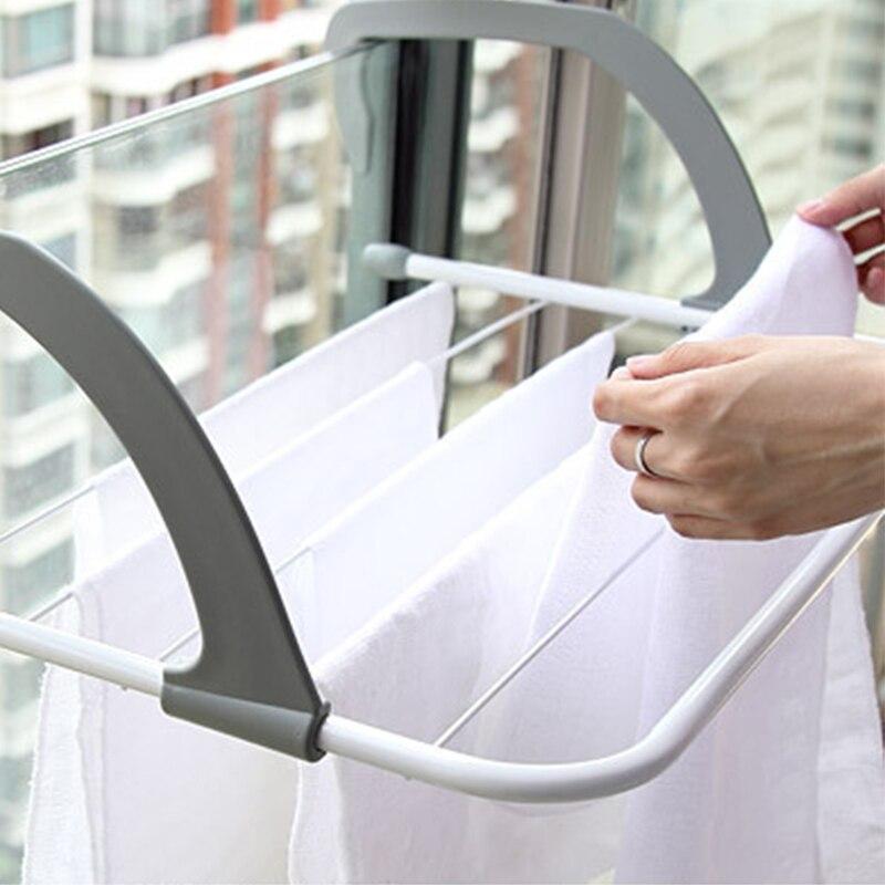 Adjustable Folding Clothes Drying Racks Hanger Shelf Creative Balcony Storage Holder Outdoor Indoor Laundry Towel