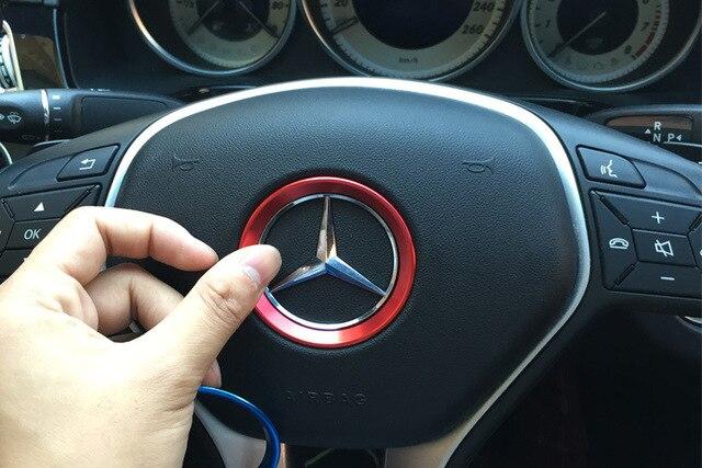 car interior steering wheel accessories for Mercedes-Benz A B C E Class GLK  GLA aluminum sticker ede03882c736