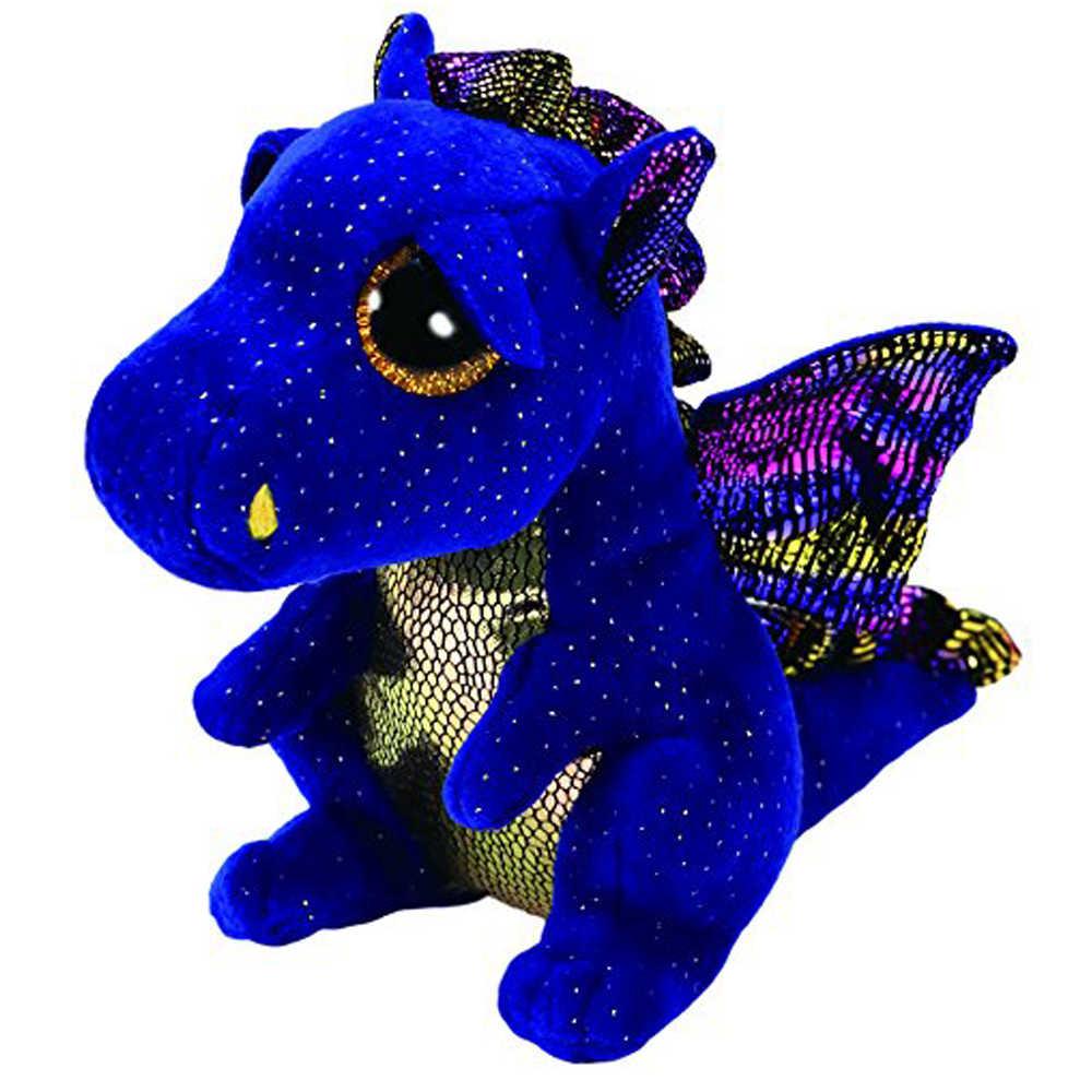 """Pyoopeo Оригинал Ty Boos 10 """"25 см Saffire дракон плюшевые средней мягкости с большими глазами мягкая коллекция животных кукла игрушка"""
