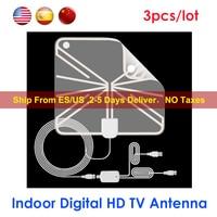 Ultradunne HDTV Antenne DVB-T/T2 25dBi Digitale HD 1080 p TV Antenne Indoor Signaal Ontvanger Antenne Booster voor DVB-T2 TV Ontvangers