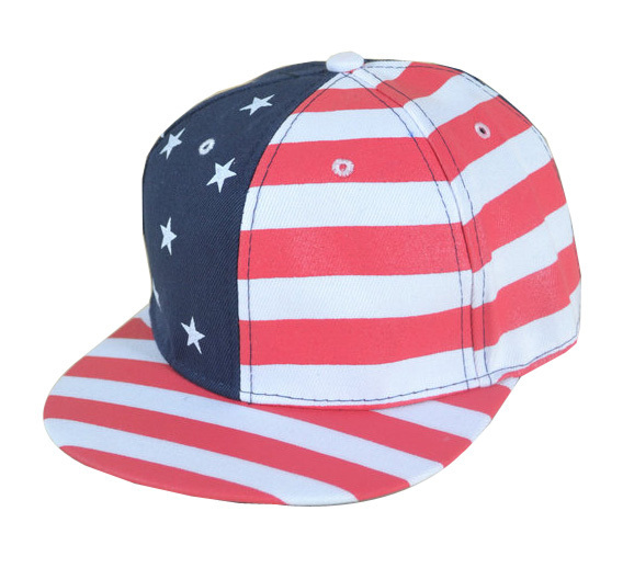 f3cd41431e8 2017 New Fashion American Flag Hip Hop Hat Flat Brim Baseball Hat  Adjustable Snapack Trucker Cap For Women Men