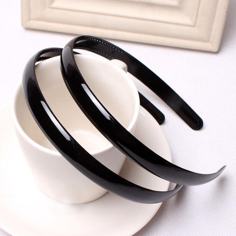 Hair Bands Women Black Headband Hair Accessories Ornaments Fashion Paint Bright Black Head Wear Hoop For Female Girls