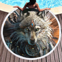 Wolf round fringed beach towel Large Bath Towels Microfiber Round Cover Up Yoga Serviette shawl 150x150cm w15 04