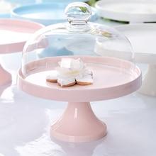 Европейский Свадебный керамический поднос для торта, фруктовый десерт, чай для дома, магазин тортов, вечеринка на день рождения, отель со стеклянным чехлом