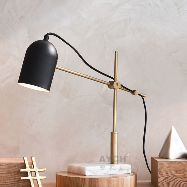 Scandinavian Creative Personality Marble Table Lamps Hotel Villa Living  Room Study Bedroom Bedside Model Room Iron LU809194 In Table Lamps From  Lights ...