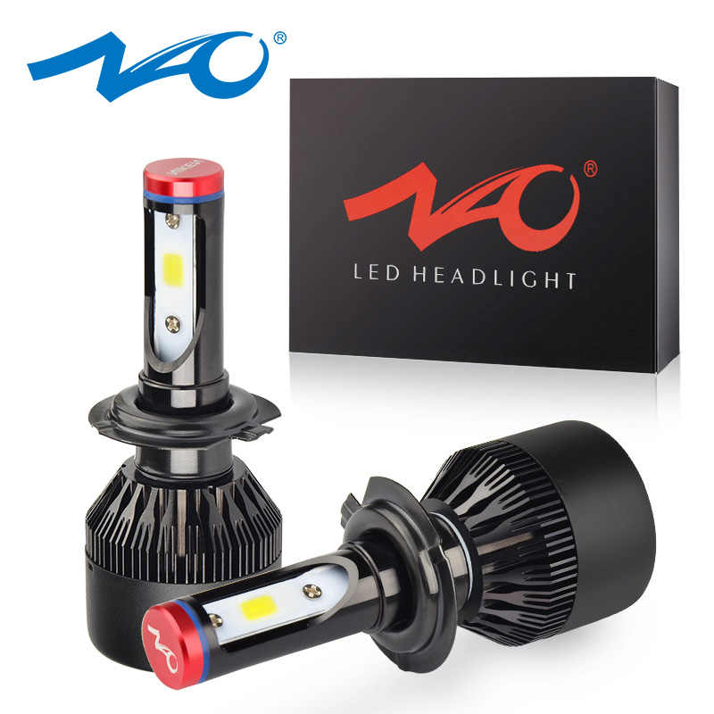 NAO H4 led h7 headlights h1 led bulb car light h3 hb4 h11 led lamp for auto 12V h27 880 9006 9005 hb3 h9 h8 h13 HB5 72W bulb