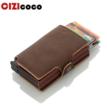 Men And Women Business Credit Card Holder Metal Double Aluminium Box Card Holder With Rfid Blocking Travel Card Wallet