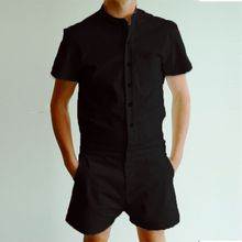 3ba51c3245c5 LEQEMAO Short Sleeve Rompers Summer Men s Solid Trousers Male Casual Single  Breasted Jumpsuit Cargo Overalls(