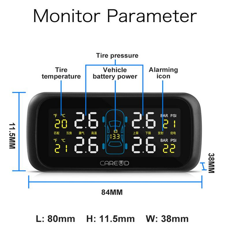 4ps CAREUD U903 Car Wireless TPMS Tire Pressure Monitoring System With 4 External Replaceable Battery Sensors LCD Display Butt careud u901 car wireless tpms tire pressure monitoring system with 4 external sensors lcd display