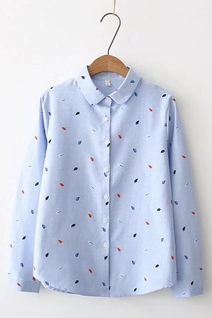 Blouse Women 2019 New Autumn Women Long Sleeve Blouses Casual Leaf Printd Cotton Oxford Shirts Blusas Femininas Tops Clothing Women Shirts