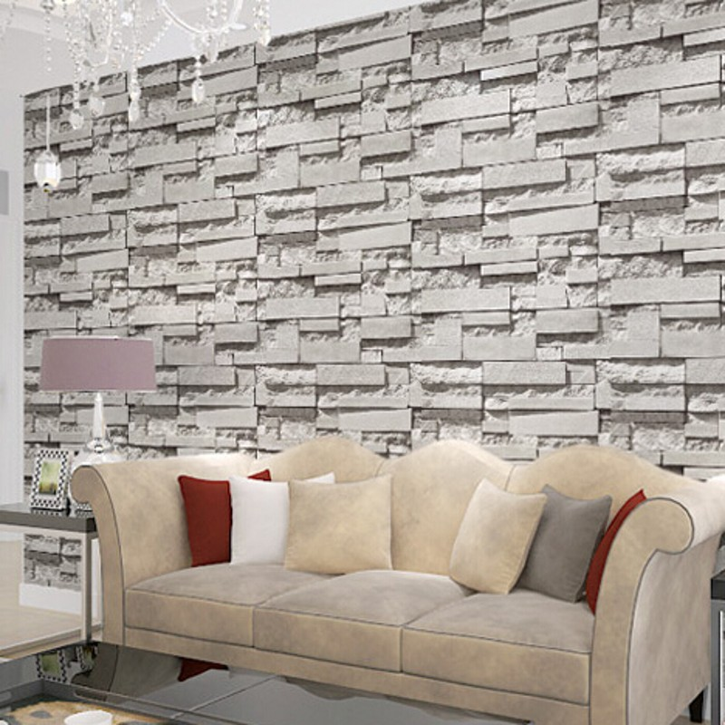 beibehang wallpaper Real Look Realistic Brick wall Wallpaper White Grey  Real Deep Embossed Textured Wall paper Roll home decor-in Wallpapers from  Home ...