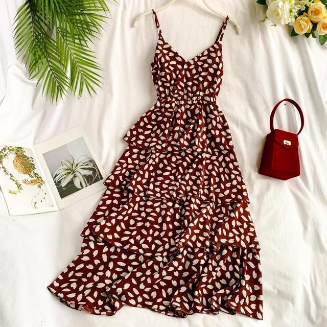 2019 new fashion women's dresses Love leaf polka dot dress V-neckstrap mid-length female