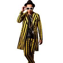 Nightclub Singer DJ Yellow Black Stripes Men Long Suit Coat Male Fashion Slim Fit Blazers Jacket Trouser Stage Costumes