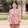 Spring and Summer New Cotton and Linen Printing Outline Loose Shirt Original Design Chinese Retro Was Thin Wild