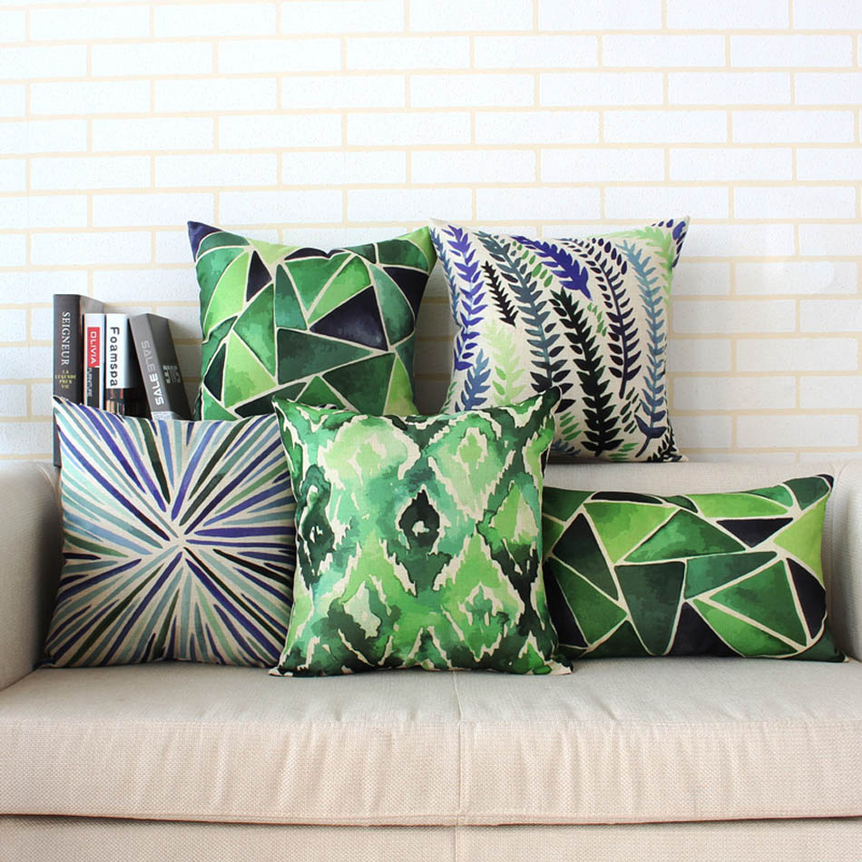2017 Northern Europe style green color tropical watercolor cotton and linen sofa home decor throw pillow