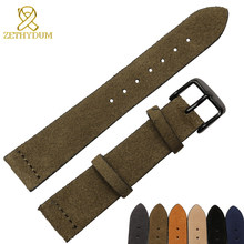 Suede Genuine leather bracelet 16 18 19 20 22 24mm watch band soft army green brown khaki watch strap pin buckle watchband(China)
