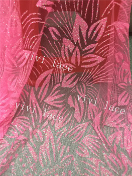 D490 # 5yards pink floral glued print glitter net tulle mesh lace fabric for sawing / evening dress/stage