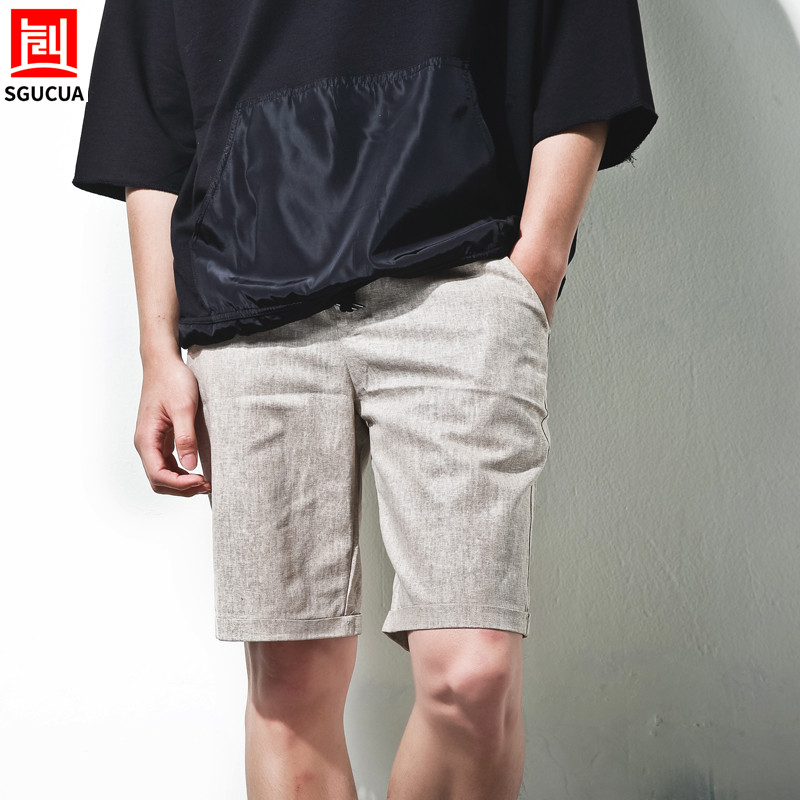 2018 Casual Summer Shorts Men Knee Length shorts Vintage Casual Men Shorts Big Large Size XL Light Khaki color Flax Comfortable