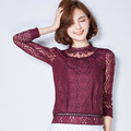 Women Lace Blouses 2016 Summer Autumn New Fashion Elegant Diamonds Tops Long Sleeve Lace Blouse Women Shirt Stand Collar A943